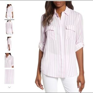 Gibson Pink Scottsdale Oversize Button Down Tunic